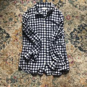 J.Crew Navy Blue Gingham Button Down Size M
